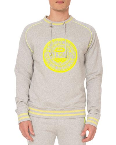 Men's Logo Coin Drawstring-Neck Sweatshirt