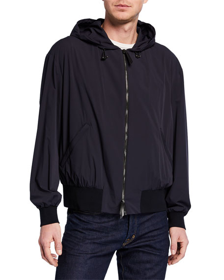 Giorgio Armani Men's High-Tech Stretch Bomber Jacket w/ Hood