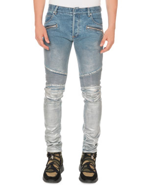 92b56af1 Balmain Men's Slim Ribbed Zip-Pocket Jeans
