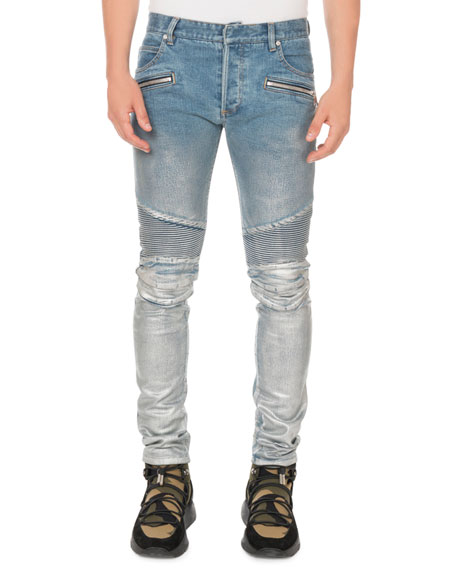 Balmain Men's Slim Ribbed Zip-Pocket Jeans
