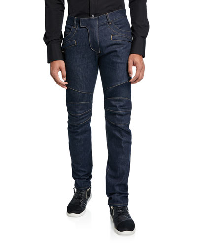 Men's Tapered Bleach Biker Denim Jeans