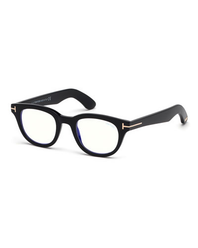 Men's Rectangular Plastic Blue-Block Glasses