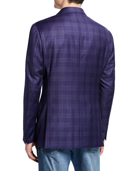Emporio Armani Men's Plaid Super 130s Wool Two-Button Jacket