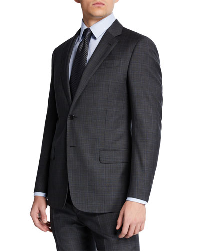 Men's Super 140s Plaid Two-Piece Suit