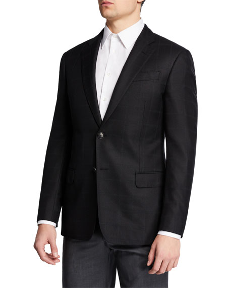 Emporio Armani Men's Windowpane Silk/Wool Sport Coat