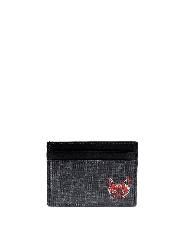 d6471753c07e Gucci Wolf-Print GG Supreme Card Case | Neiman Marcus
