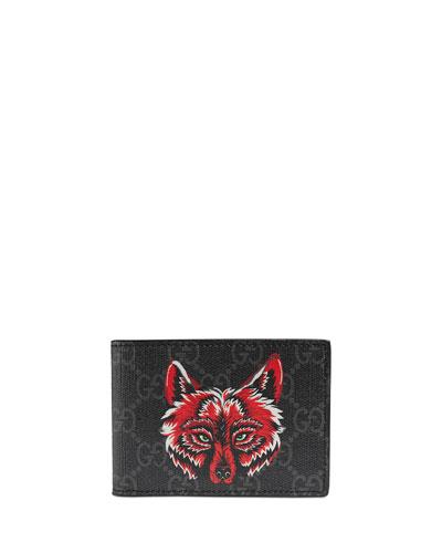 Men's Wolf-Print GG Supreme Wallet