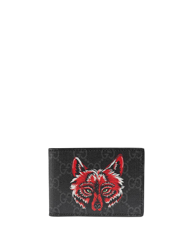 c74b06986 Gucci Men's Wolf-Print GG Supreme Wallet | Neiman Marcus