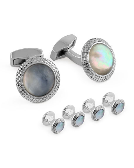 Tateossian Mother-of-Pearl Doublet Cuff Links & Stud Set
