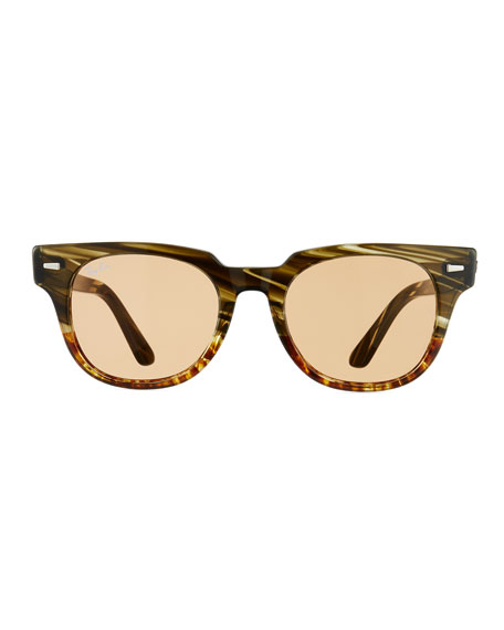 Ray-Ban Men's Square Acetate Sunglasses with Mirror Lenses