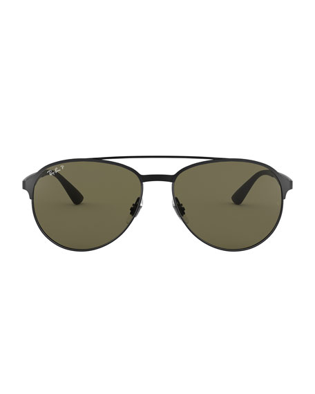 Ray-Ban Men's Round Polarized Metal Aviator Sunglasses
