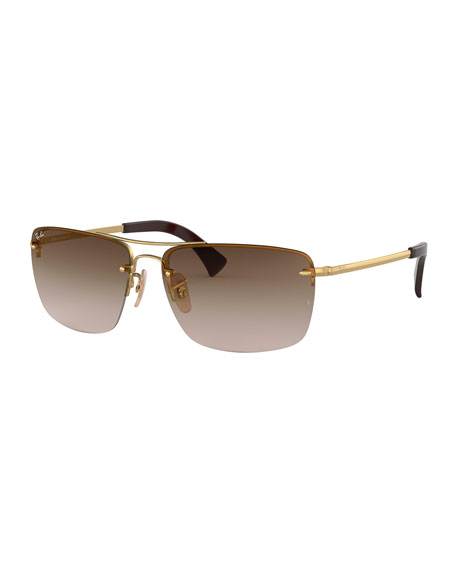 Ray-Ban Men's Half-Rim Metal Sunglasses with Gradient Lenses