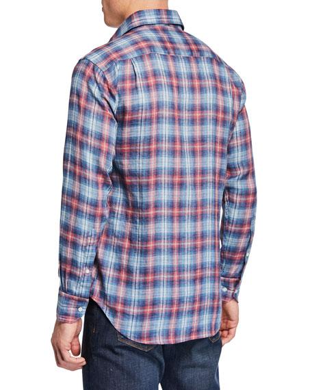 Peter Millar Men's Lion Park Plaid Linen Sport Shirt