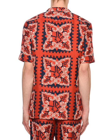 Valentino Men's Logo Bandana-Pattern Silk Short-Sleeve Sport Shirt