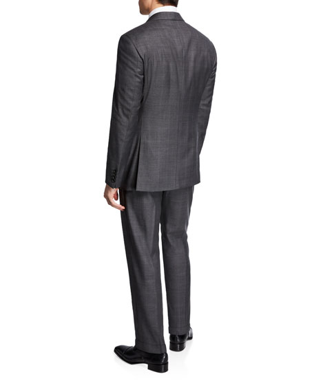 Emporio Armani Men's Super 140s Micro Grid Two-Piece Suit