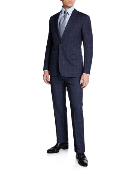 Emporio Armani Men's Super 130s Tonal Windowpane Two-Piece Suit