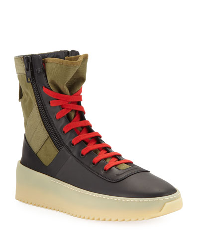 Men's Jungle High-Top Sneakers with Canvas Insets