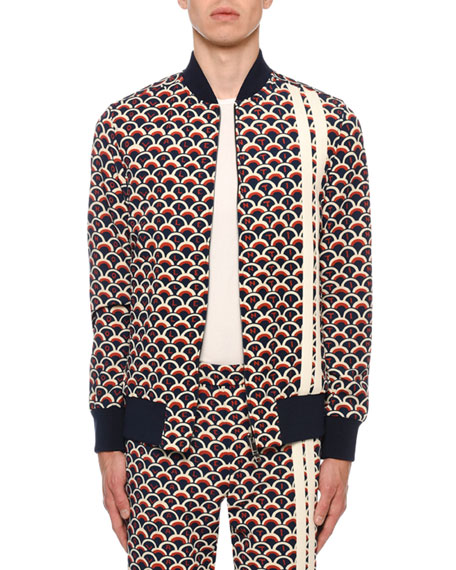 Valentino Men's Retro Logo Scales Zip-Front Track Jacket