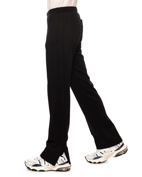 Image 3 of 3: Valentino Men's VLTN Straight-Leg Jersey Track Pants