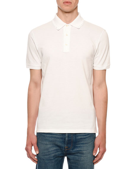 Valentino Men's Rockstud-Trim Polo Shirt