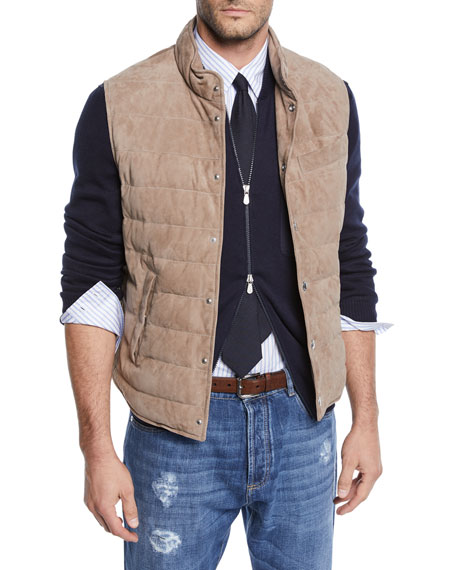 Brunello Cucinelli Men's Suede Snap Vest