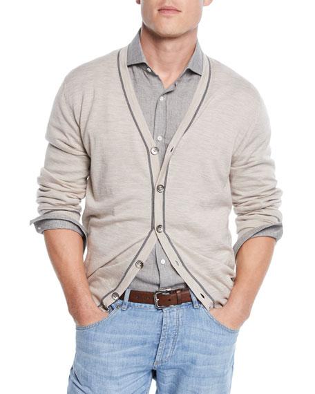 Brunello Cucinelli Men's Button Stripe Cardigan