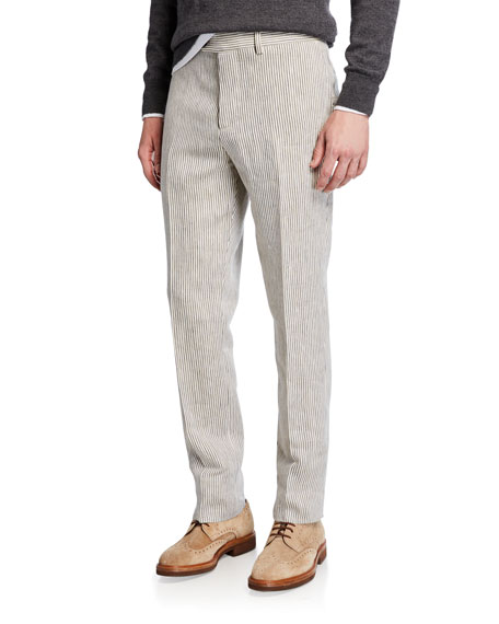Brunello Cucinelli Men's Linen Flat-Front Striped Pants