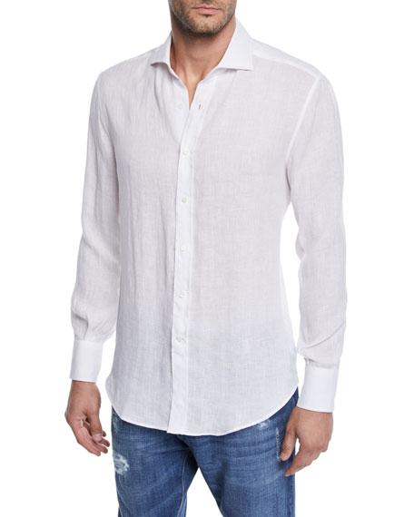 Brunello Cucinelli Men's Solid Woven Shirt