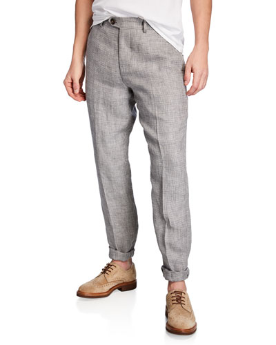 Men's Houndstooth Linen Pants