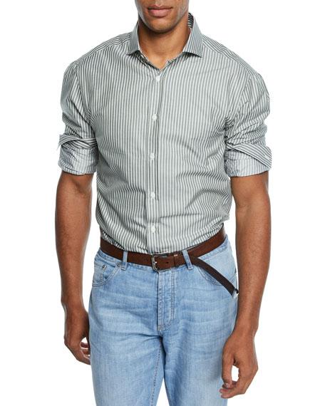 Brunello Cucinelli Men's Stripe Woven Sport Shirt