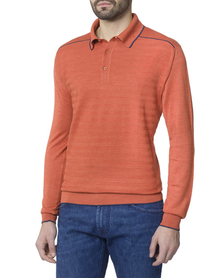 Stefano Ricci Men's Long-Sleeve Polo Shirt with Contrast Lining