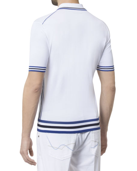 Stefano Ricci Men's Short-Sleeve Zip Polo Shirt with Stripes