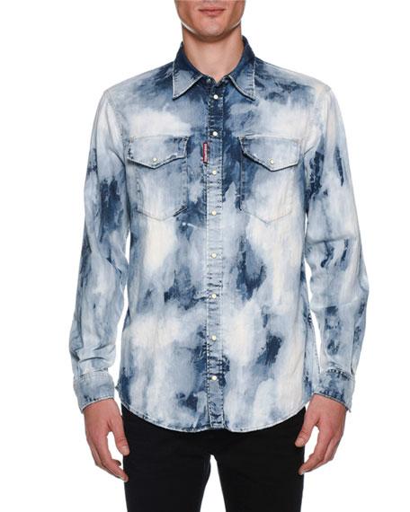 Dsquared2 Men's Bleached Denim Military Shirt