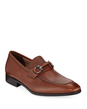 75be765b5d5 Salvatore Ferragamo Men s Benford Textured Leather Slip-On Bit Loafers