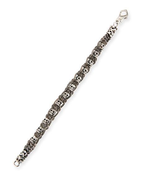 Emanuele Bicocchi Men's Braided Skulls Sterling Silver Bracelet