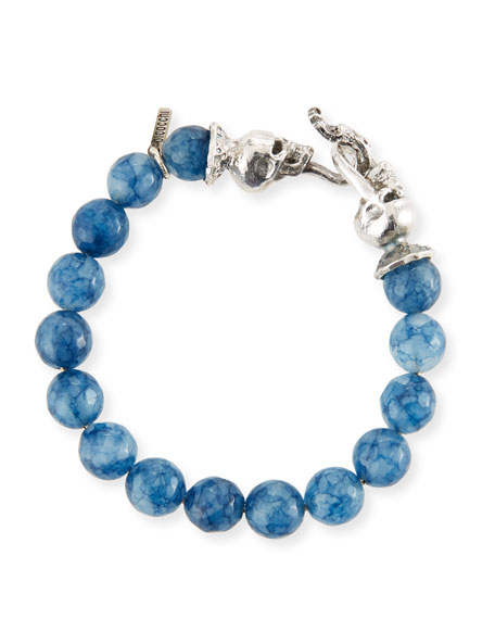 Emanuele Bicocchi Men's Blue Agate Sterling Silver Bracelet