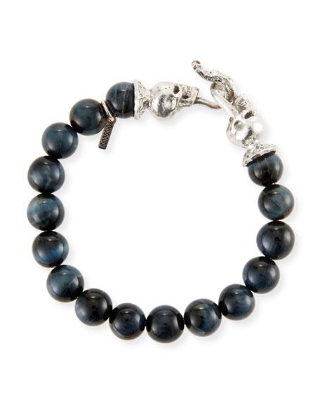 Emanuele Bicocchi Men's Blue Tiger Eye Sterling Silver Bracelet