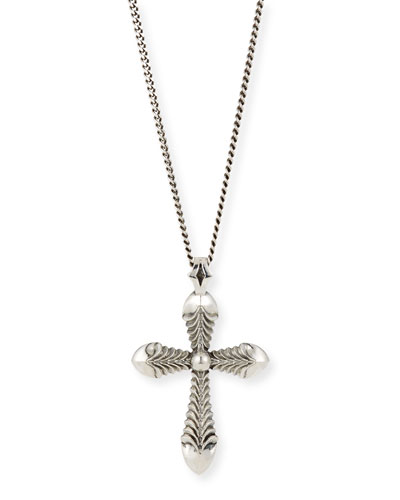 Men's Feathered Cross Pendant Necklace