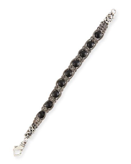 Emanuele Bicocchi Men's Black Agate Chain Bracelet
