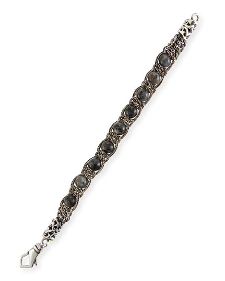 Emanuele Bicocchi Men's Gray Quartz Chain Bracelet