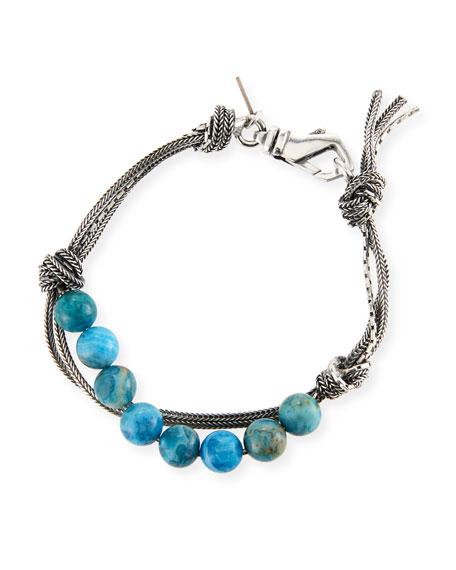 Emanuele Bicocchi Men's Blue Agate Bead Bracelet w/ Knots
