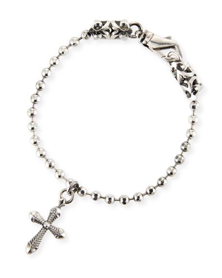 Emanuele Bicocchi Men's Ball Chain Bracelet w/ Cross Charm
