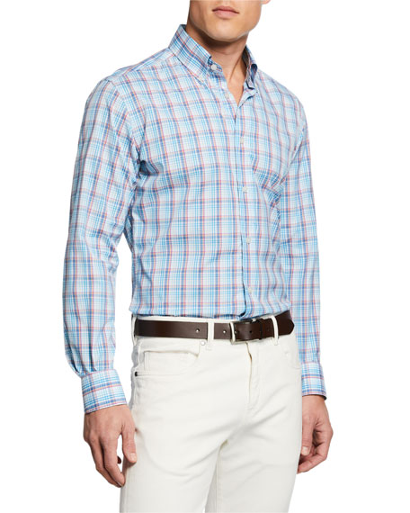 Neiman Marcus Men's Two-Tone Plaid Sport Shirt