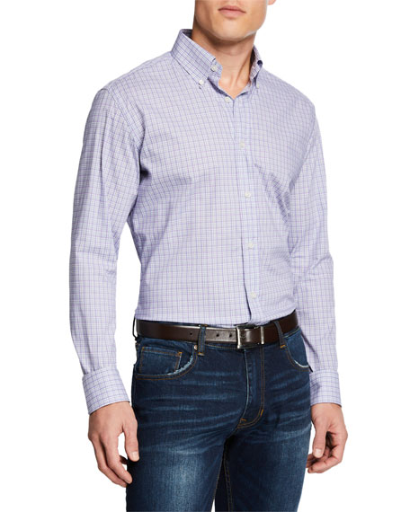 Neiman Marcus Men's Micro-Plaid Sport Shirt