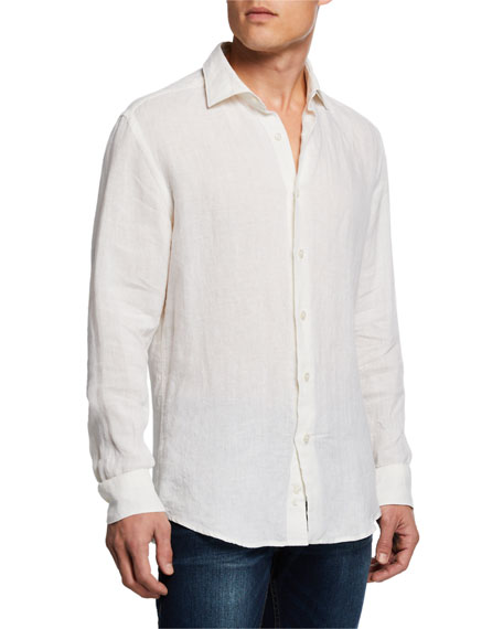 Image 2 of 3: Neiman Marcus Men's Linen Sport Shirt