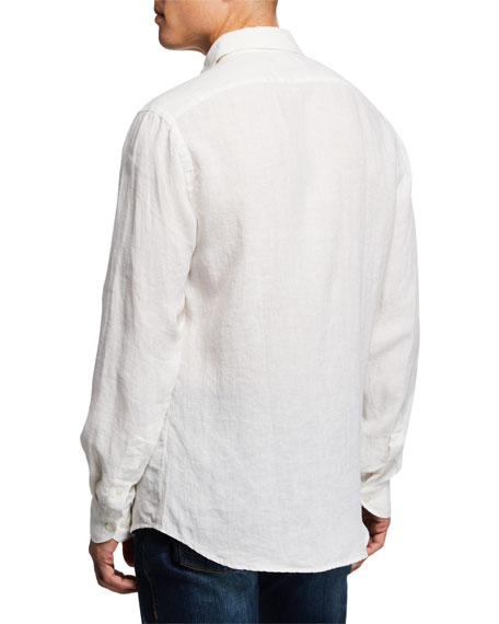 Image 3 of 3: Neiman Marcus Men's Linen Sport Shirt