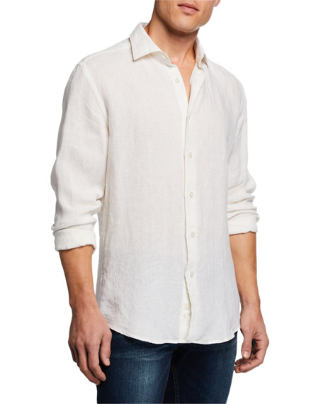 Image 1 of 3: Neiman Marcus Men's Linen Sport Shirt