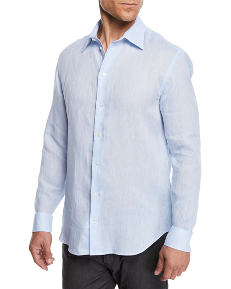Emporio Armani Men's Linen Sport Shirt, Light Blue
