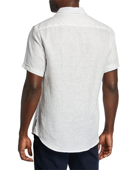 Emporio Armani Men's Short-Sleeve Dobby Linen Sport Shirt
