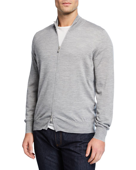 Brunello Cucinelli Men's Fine-Gauge Wool-Cashmere Zip Cardigan